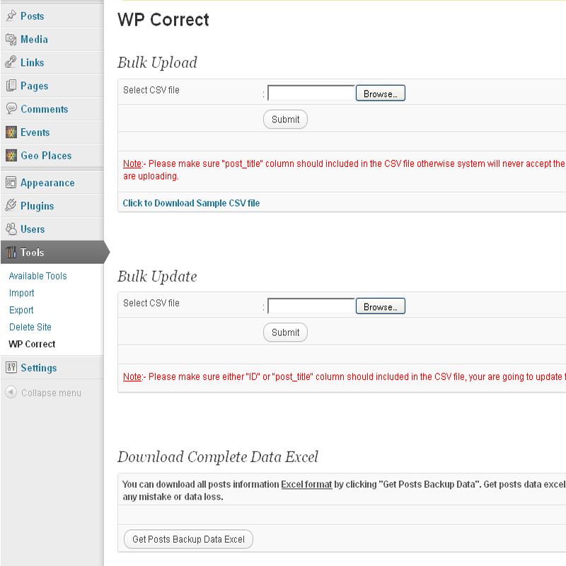 WP Corrector - Post Data Bulk Upload - Bulk Update - Backup Plugin